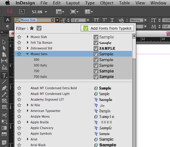 Font menu in InDesign