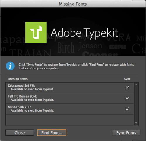 Missing fonts dialog in InDesign