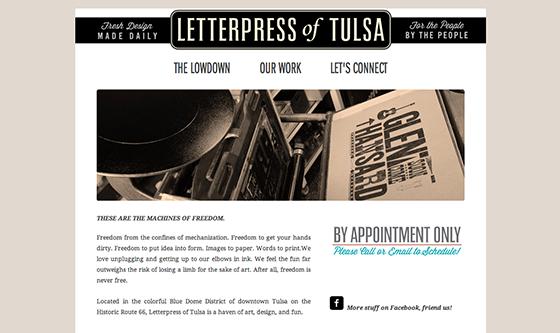 Letterpress of Tulsa website