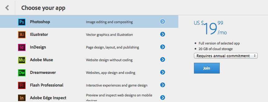 Screenshot showing list of Creative Cloud single-app plans