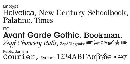 "PostScript core font set: the ""base 35"""