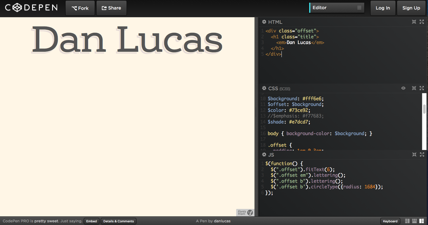 Forked CodePen from Dan Lucas