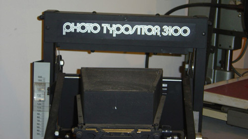 The VGC Photo Typositor 3100, part of the collection at the Museum of Printing in North Andover, Massachussetts.