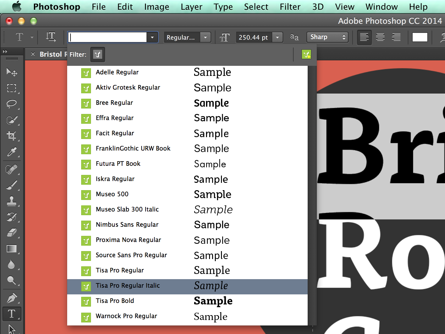 Font menu in Photoshop