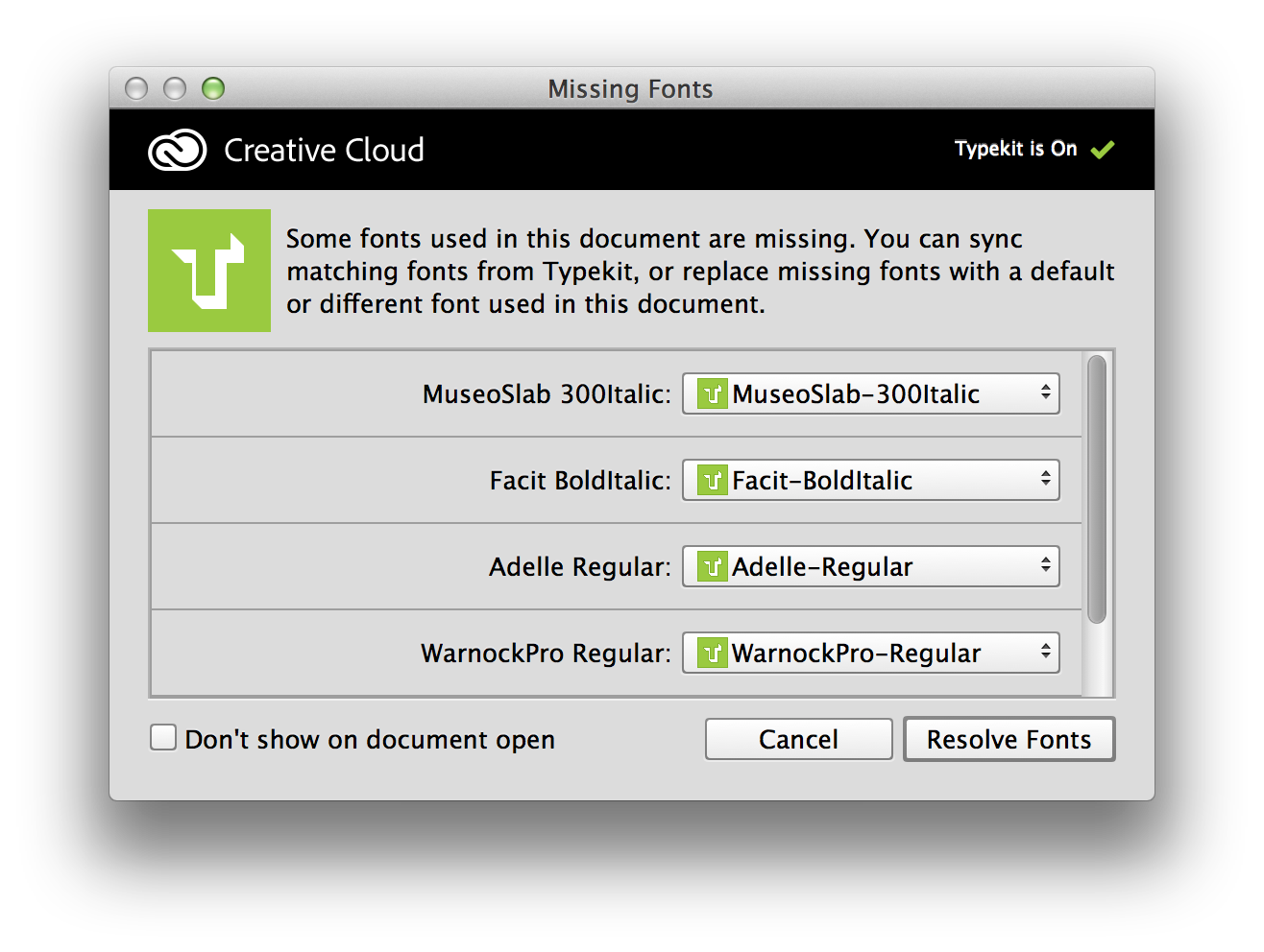 Missing fonts dialog in Photoshop