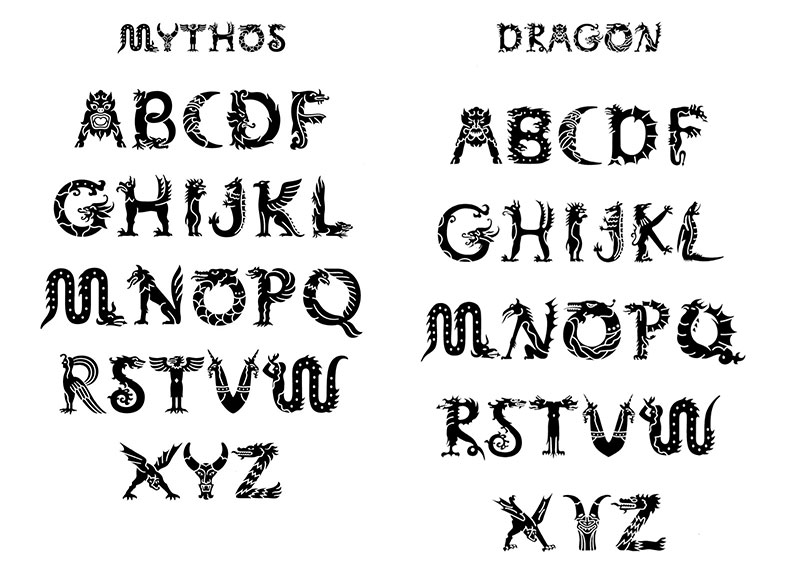 From the Adobe Wild Type series: Mythos, the finished digital font, pictured at left, compared to Min Wang's original illustrations.