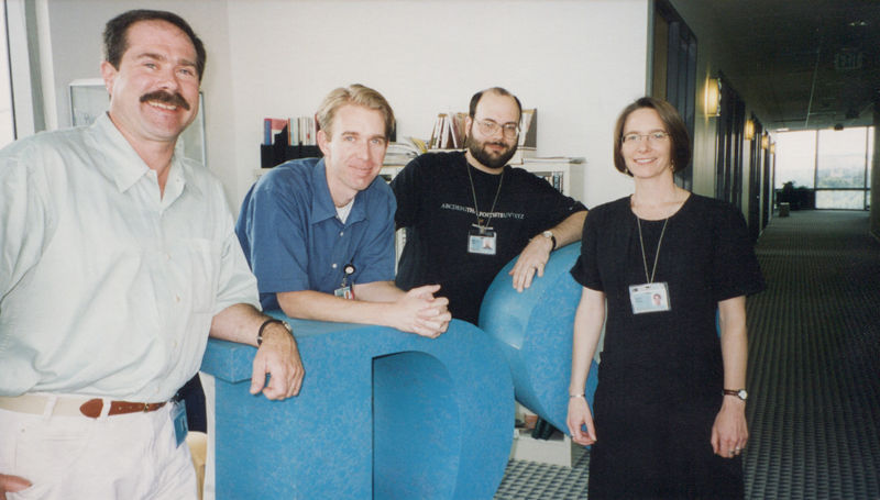 Carol Twombly's departure spelled a big change for the close-knit Adobe Type team. Pictured from left to right: Jim Wasco, Christopher Slye, and Thomas Phinney with Twombly on her last day in 1999.