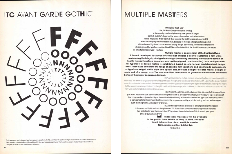"""ITC Avant Garde was """"retrofitted"""" for the multiple master font format, and was the first ITC family to be released as an MM font. This two-page announcement was published in """"U&lc,"""" Vol. 20, No. 1, Spring 1993, by International Typeface Corporation. Image courtesy of Monotype. (Click image to access a PDF of the entire issue.)"""