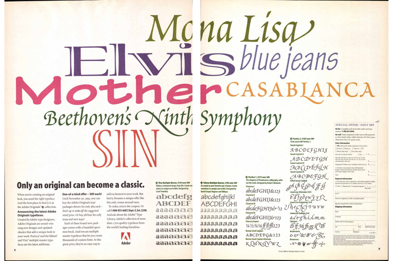 """Two-page advertisement for Adobe's multiple master fonts, published in """"U&lc,"""" Vol. 20, No. 1, Spring 1993, by International Typeface Corporation. Image courtesy of Monotype. (Click image to access a PDF of the entire issue.)"""