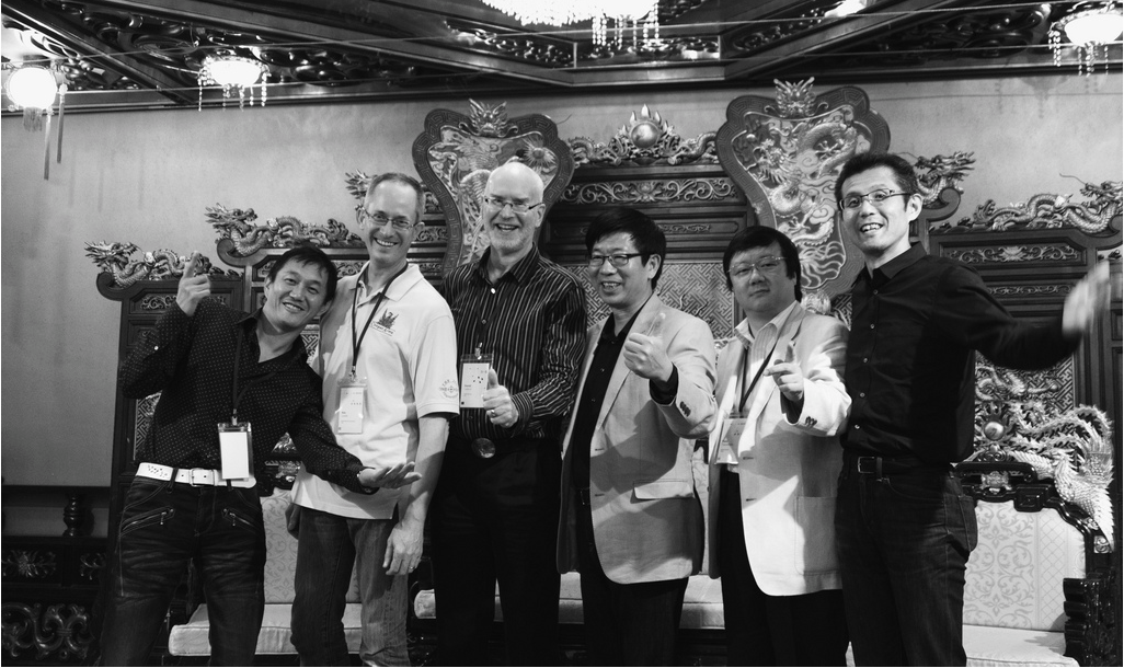 Some current and former members of Adobe's Asian type team, pictured from left to right: Masataka Hattori, Ken Lunde, David Lemon, Min Wang, Taro Yamamoto, and Isao Suzuki. ATypI 2012, Hong Kong.