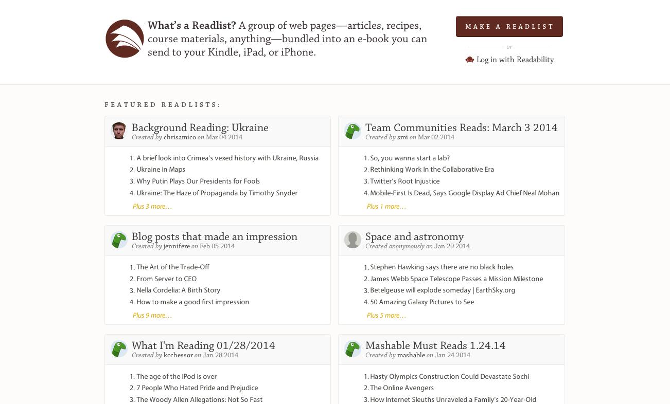 Readlist website