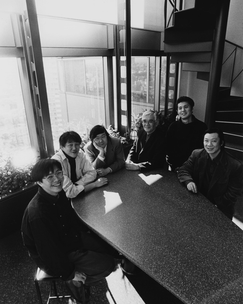 Adobe's Japanese type team in the early days, pictured from left to right: Yutaka Ozawa, Masataka Hattori, Taro Yamamoto, Masahiko Kozuka, Isao Suzuki, and the late Akihiko Yamamoto. ASJ offices, Yebisu, Tokyo.