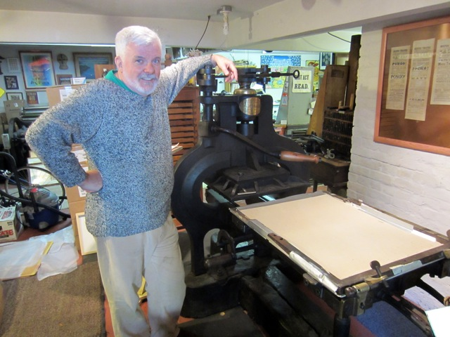Alastair Johnston at Poltroon Press, which he co-founded with Frances Butler in Berkeley in 1975.
