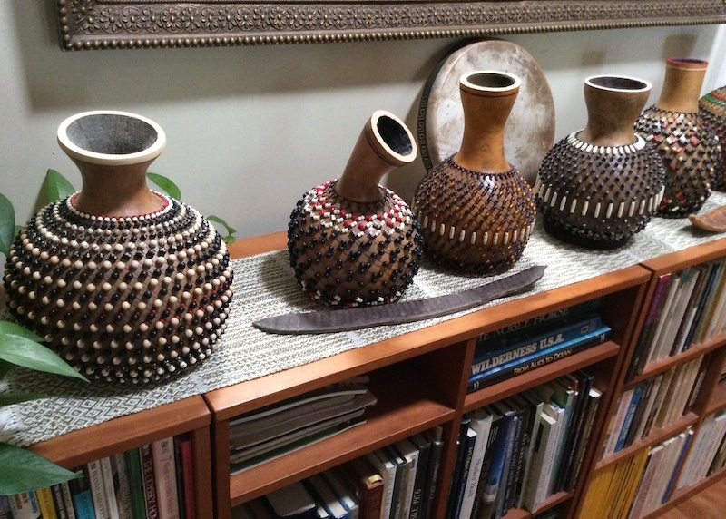 Carol Twombly's hand-beaded percussion instruments made from gourds. Photo by Tamye Riggs.