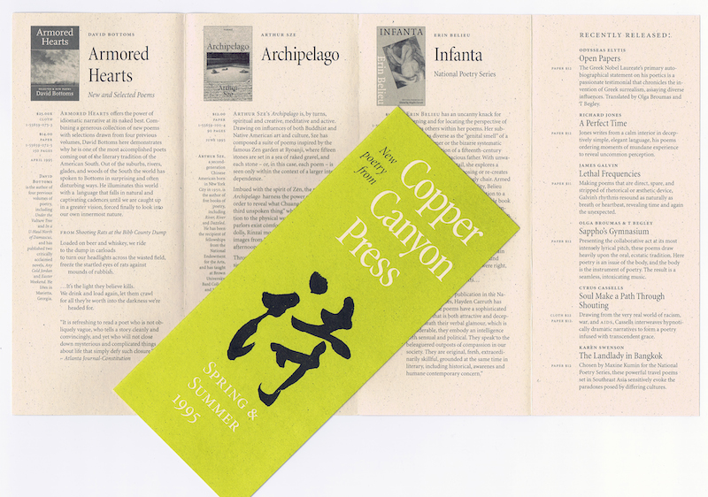 In the 1990s, Berry used Minion extensively in branding and promotional material for Copper Canyon Press.