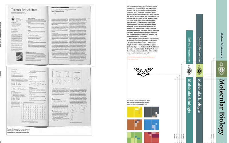 """Spread from a forthcoming book about Spiekermann (Gestalten Verlag: """"Hello, I'm Erik"""") shows the Springer publishing project using Myriad and Minion."""