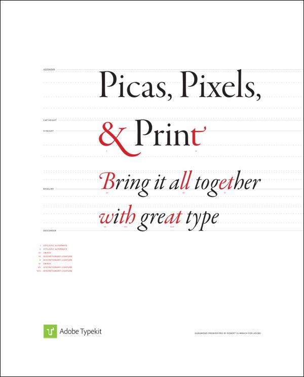 Typekit print ad, designed by Elliot Jay Stocks, featuring Garamond Premier Pro, designed by Robert Slimbach.