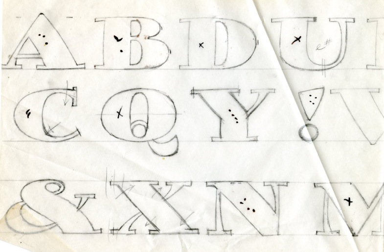 Sketches for Jimbo, an Adobe Original designed by Parkinson and published in 1995.
