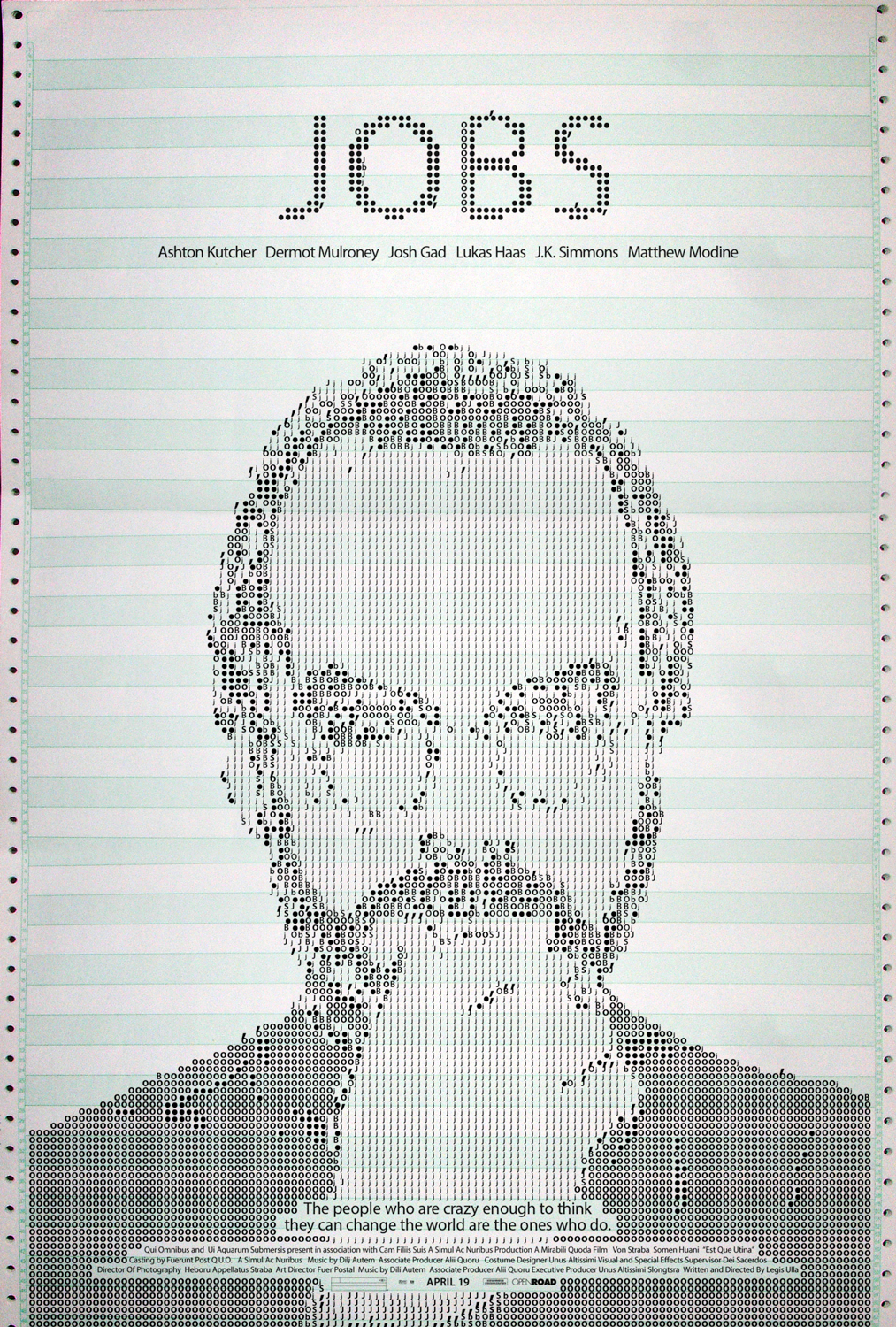 """Holms' film poster for """"Jobs"""" features Myriad, an Adobe Original used as Apple's corporate typeface."""