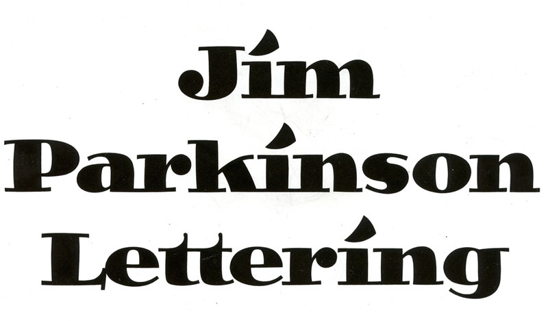 Parkinson's personal hand lettered logo, an ancestor of Jimbo.