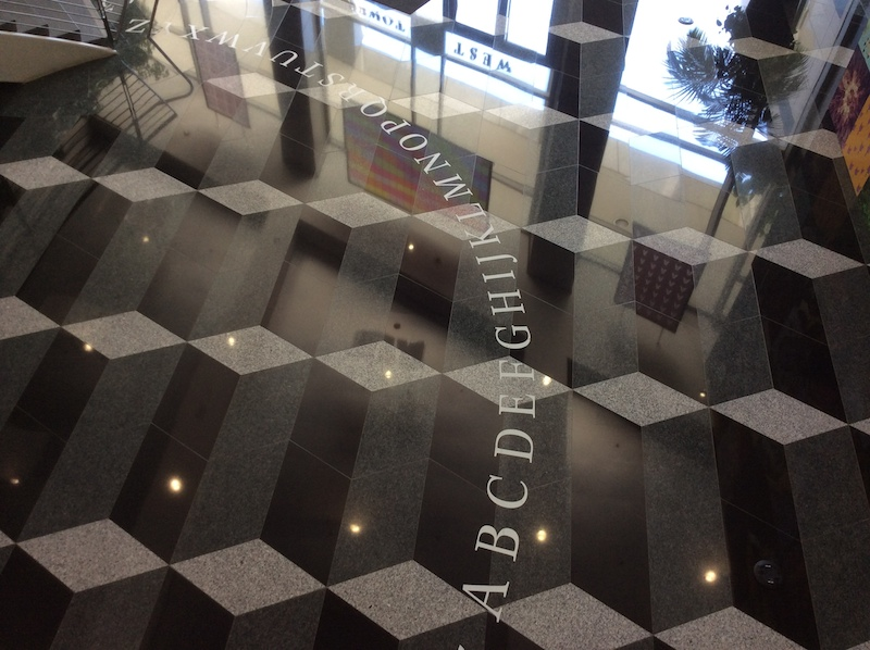 The Kepler alphabet on the lobby floor of the West Tower of Adobe's San Jose headquarters serves as a constant reminder that type is part of the company's foundation.