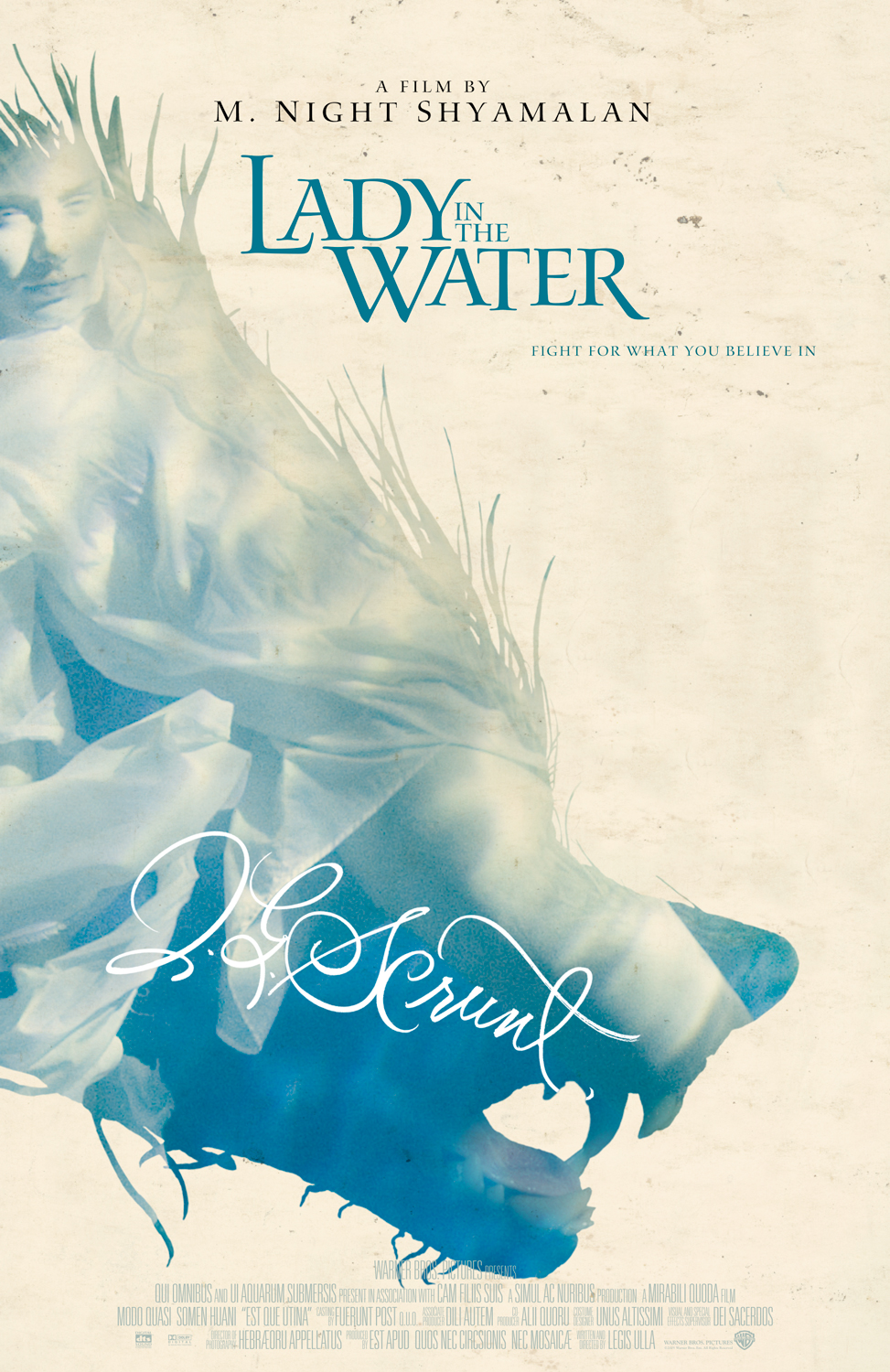 """Holms' spookily elegant poster for """"Lady in the Water"""" features Waters Titling, a 1997 Adobe Originals release by Julian Waters."""