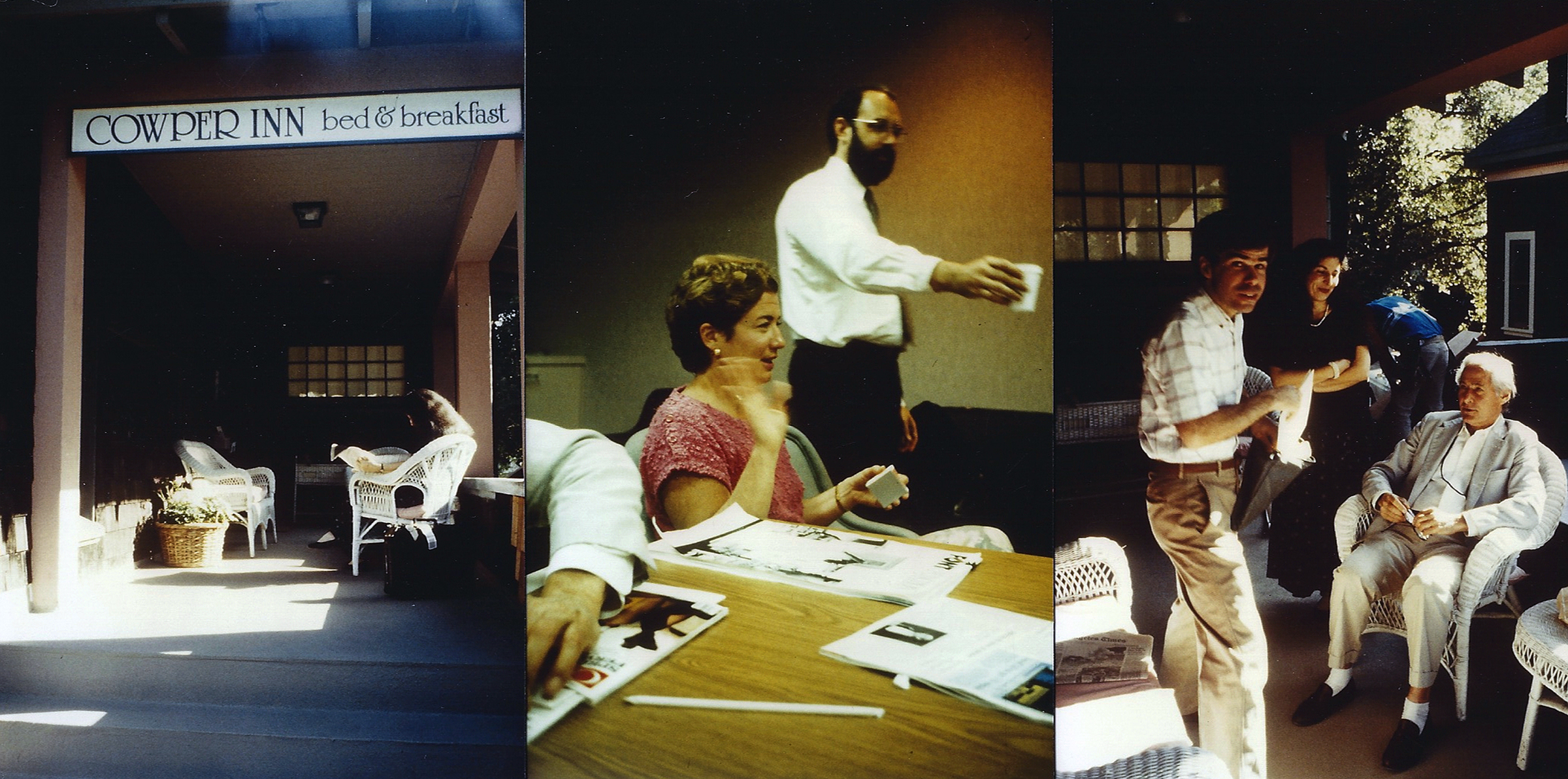"""According to Spiekermann: """"These three pictures are a scan of very bad and very small color prints from photos I took back in 1988 or 1989."""" Far left: The Type Board meeting place at the Cowper Inn in Palo Alto; center: Liz Bond and Sumner Stone; far right, pictured from left: Type Board members Stephen Harvard, Louise Fili, and Jack Stauffacher."""