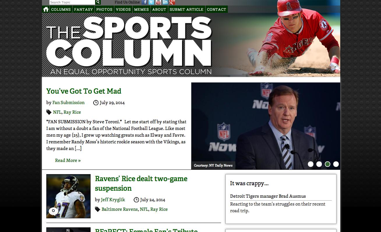 The Sports Column website