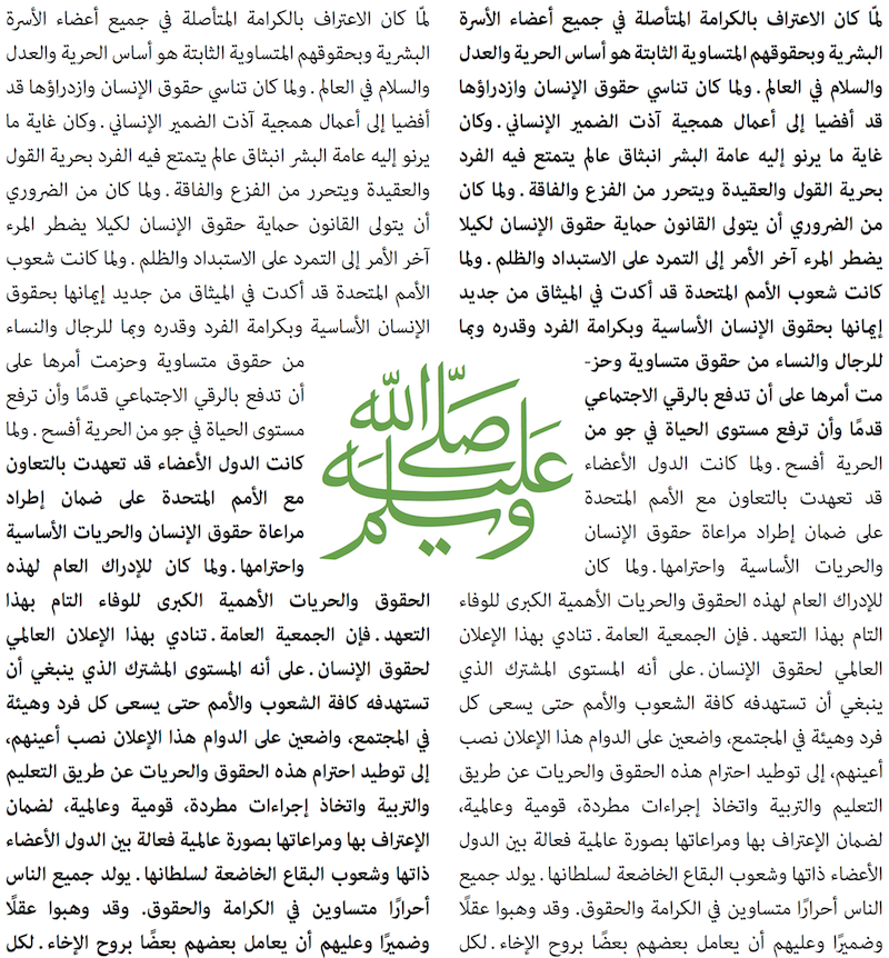 Example of Adobe Arabic, which won a 2006 Type Directors Club award.