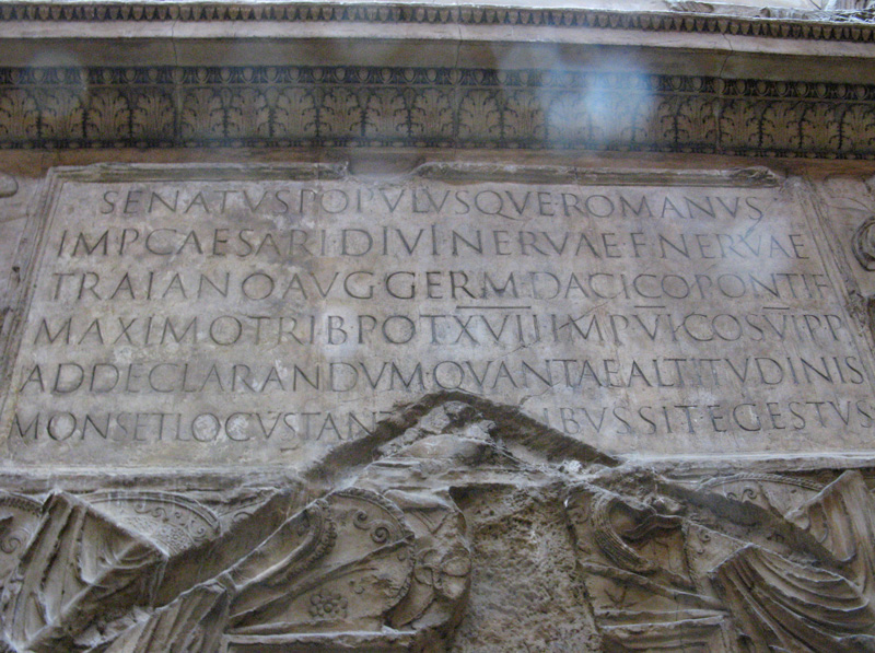 A plaster cast shows the inscription at the base of Trajan's column, the inspiration for Carol Twombly's landmark Adobe Original typeface. Photo by Chris Dobbins, Victoria and Albert Museum, London, 2008. License: Creative Commons Attribution 2.0 Generic https://creativecommons.org/licenses/by/2.0.