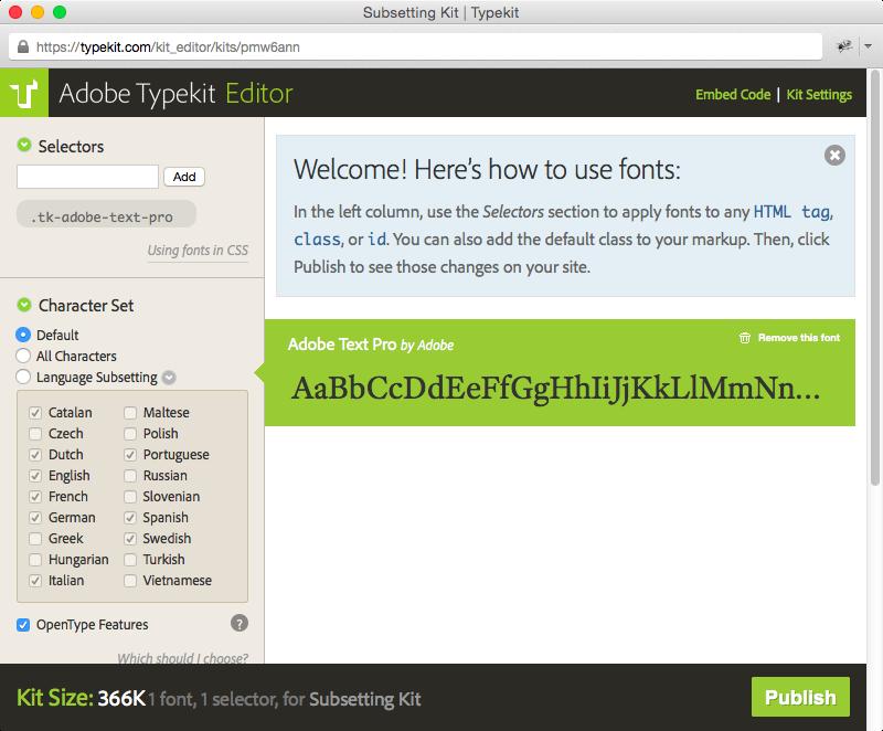 Kit Editor interface
