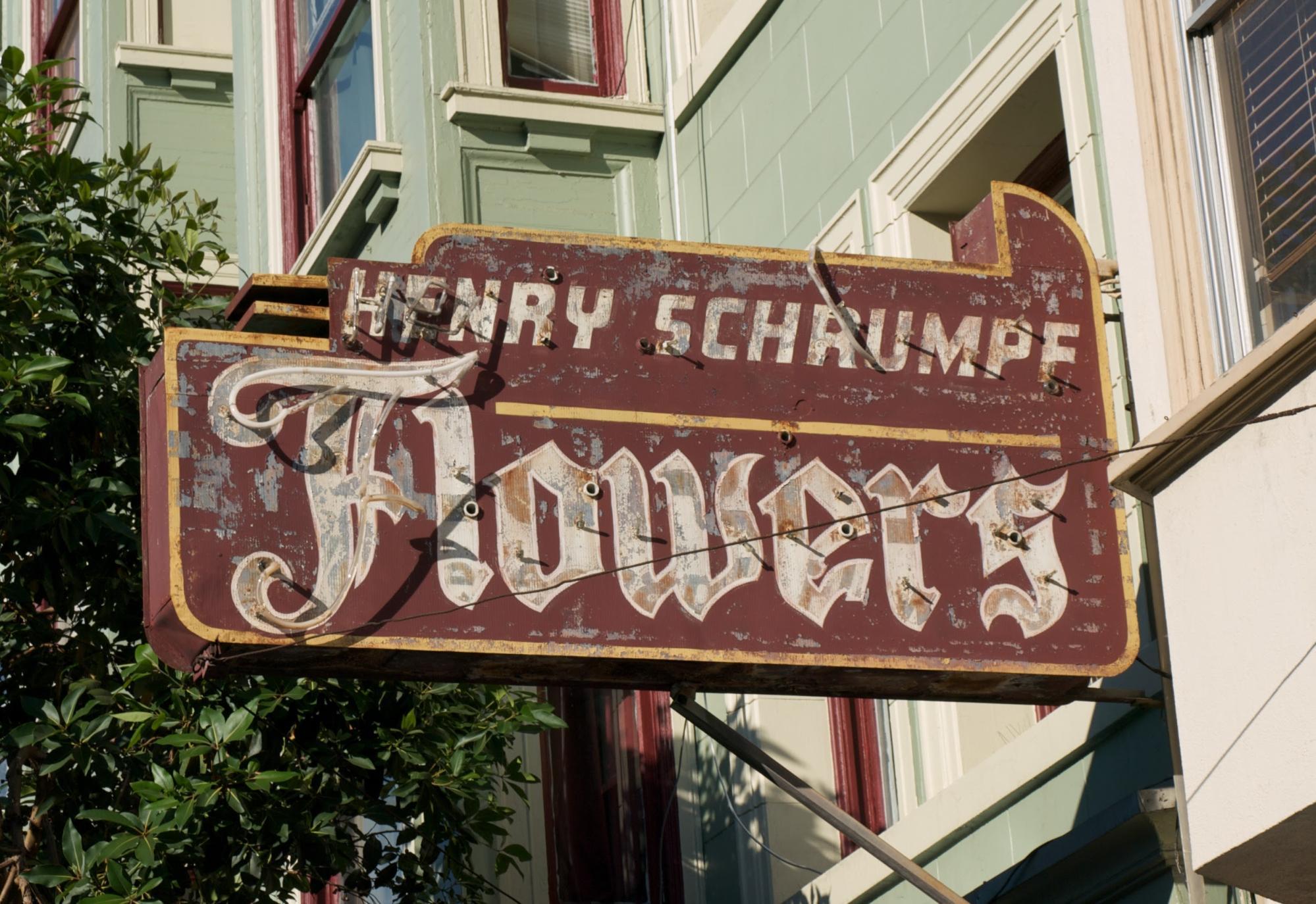 San Francisco sign: Henry Schrumpf Flowers