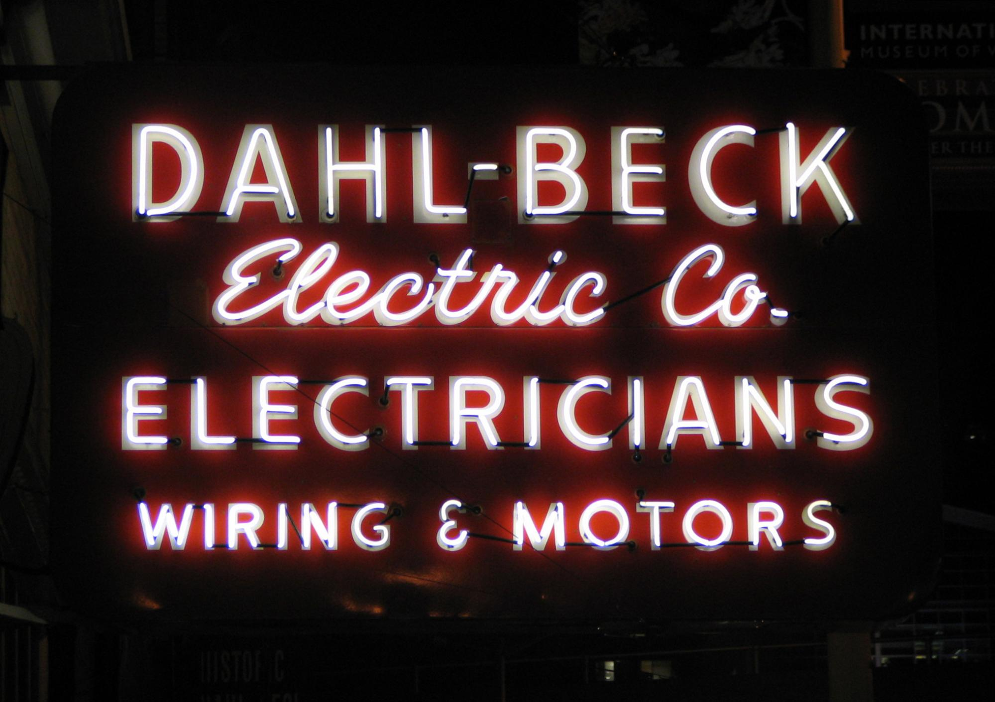 Dahl-Beck Electric Co sign