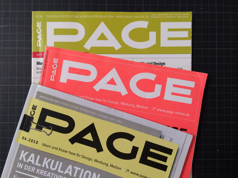 """""""PAGE,"""" Germany's premiere graphic design magazine, and an inspiration for Vortice; its masthead/logo mixes Art Deco angularity with unusual rounded forms. Photo by Frank Grießhammer."""