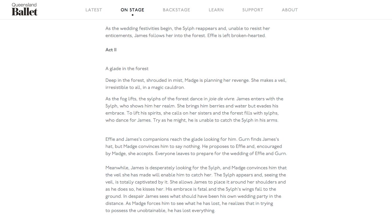 Queensland Ballet website text