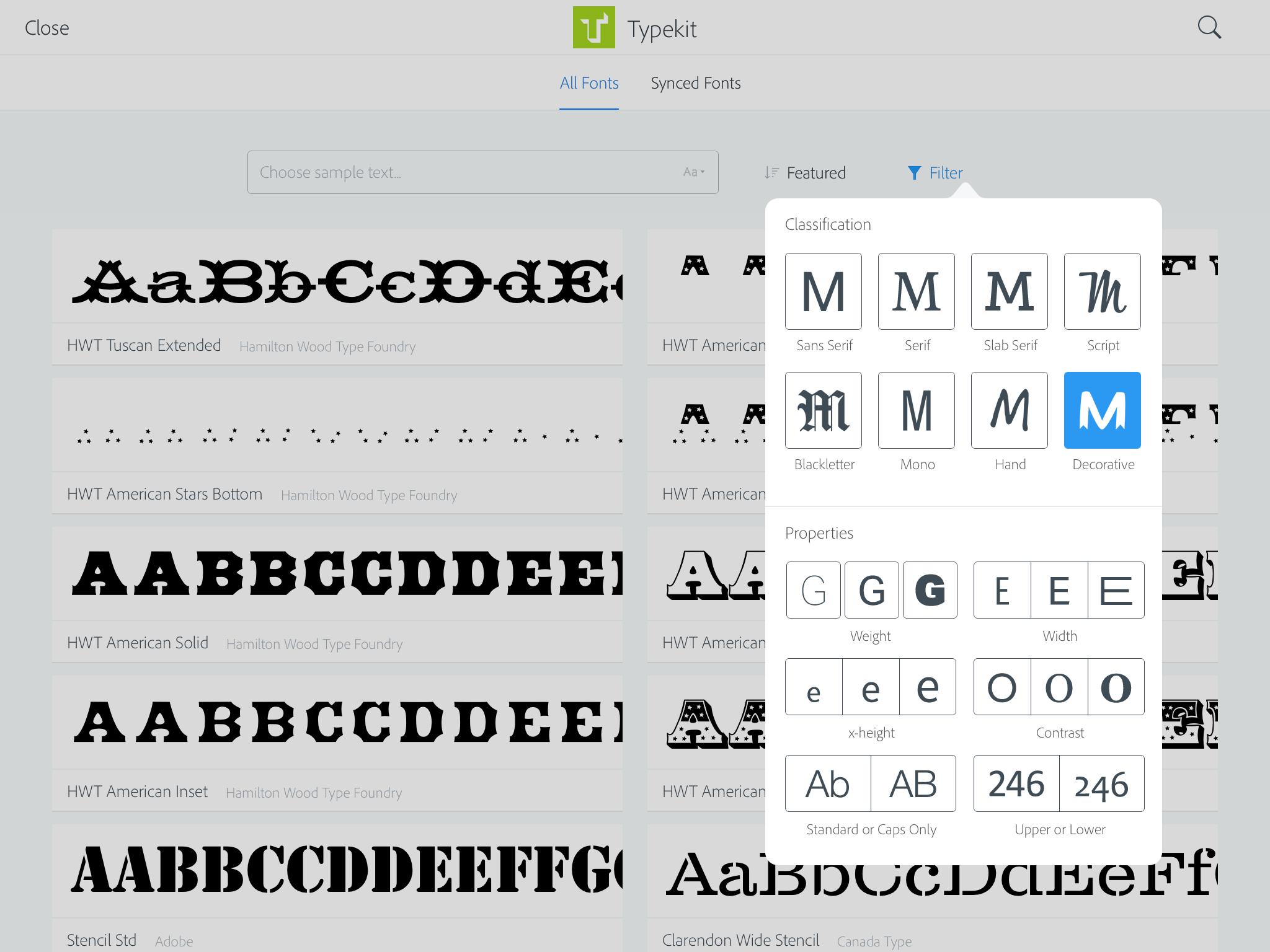 Font filtering controls in Comp CC