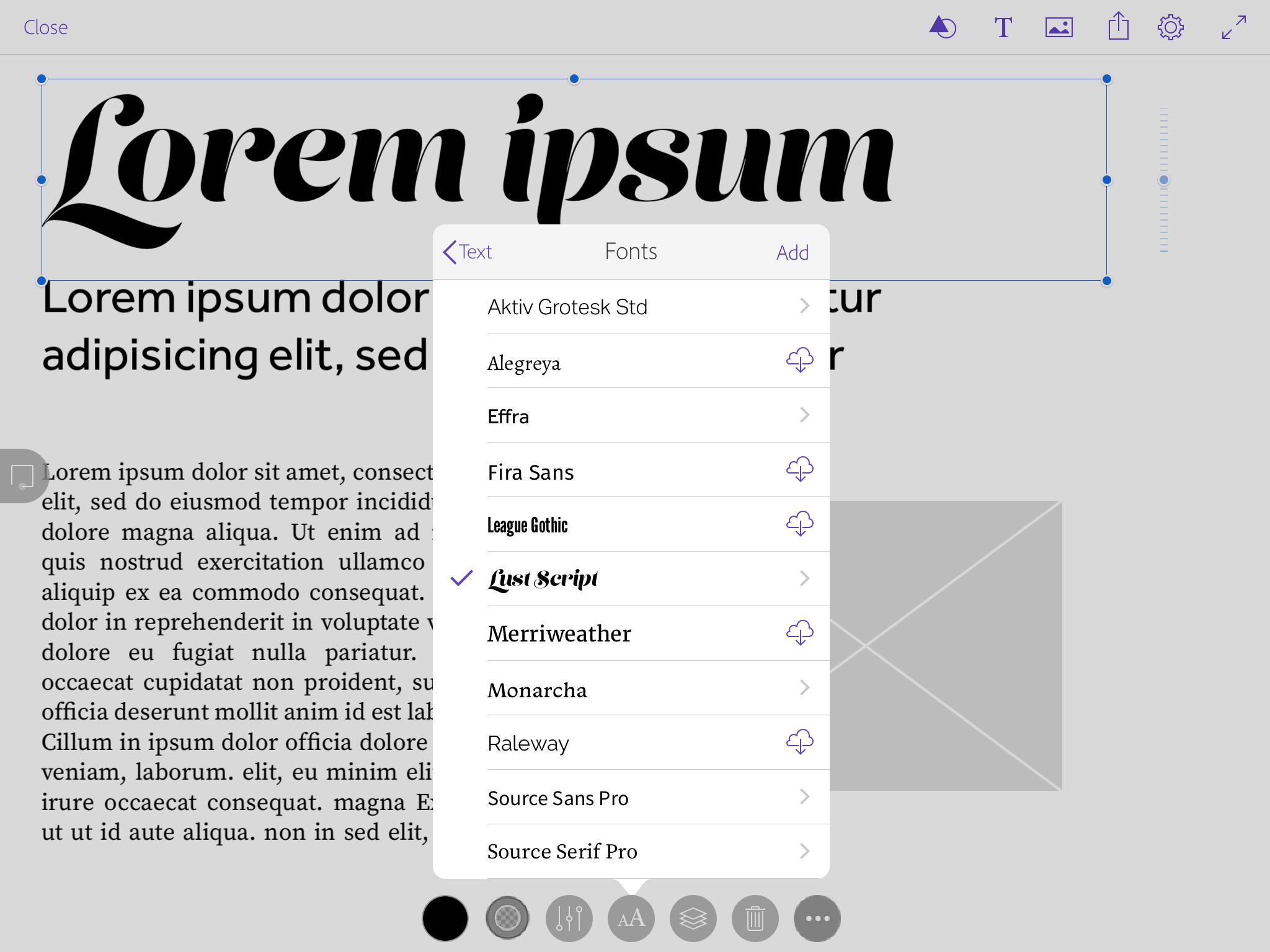 Font menu in Comp CC