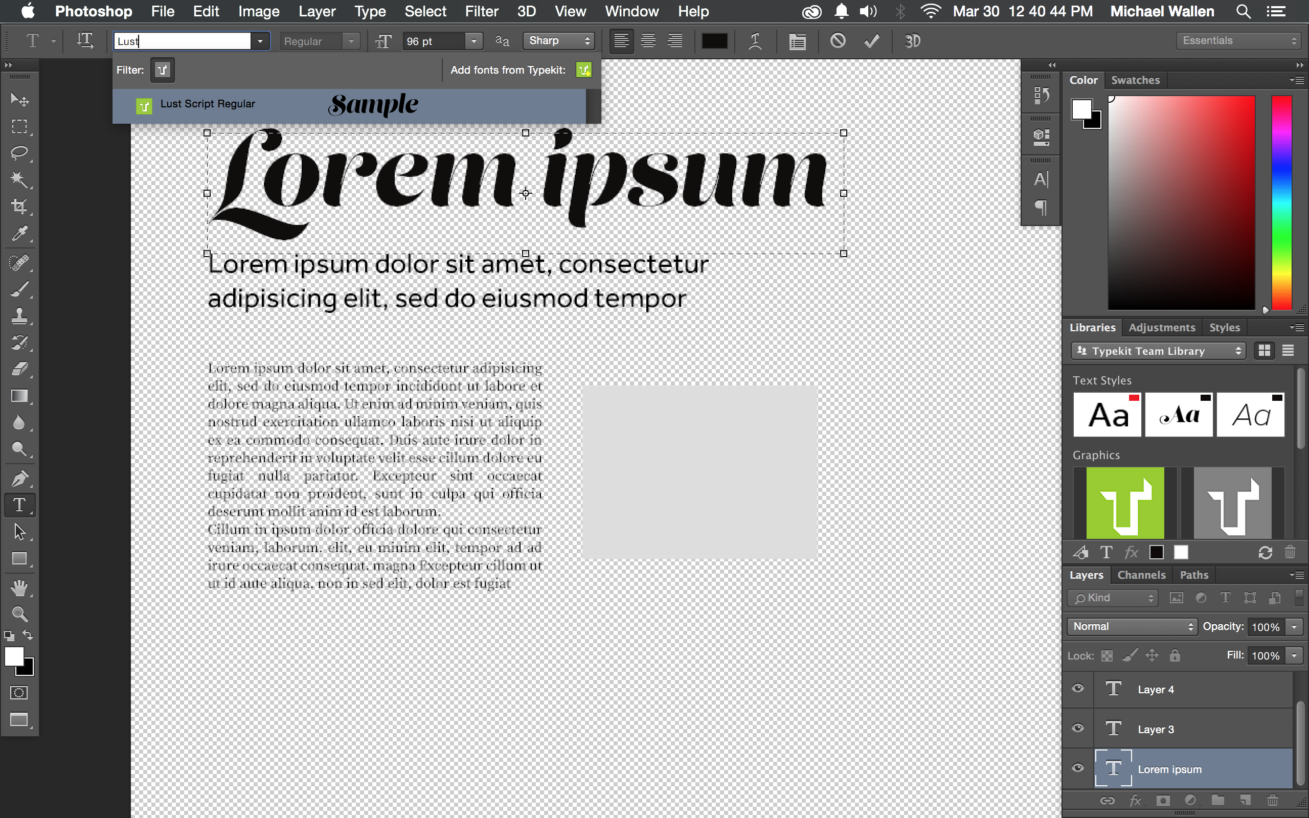 Fonts and layout in Photoshop after sending from Comp CC