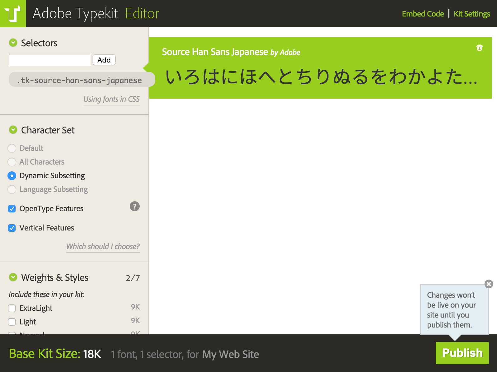 Dynamic Subsetting is automatically selected in kits using East Asian web fonts.