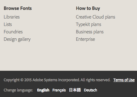 Language toggle options on Typekit.com