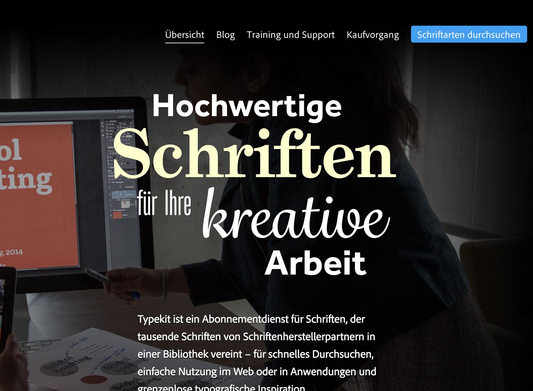 Typekit homepage in German translation