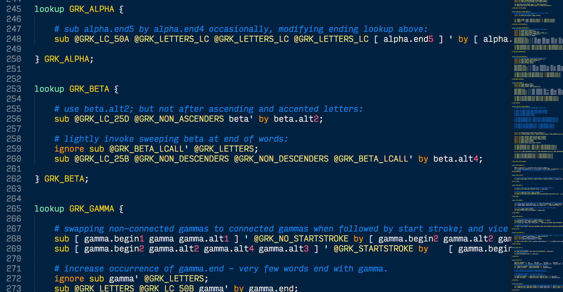 Snippet of code used to program contextual alternates into a font file