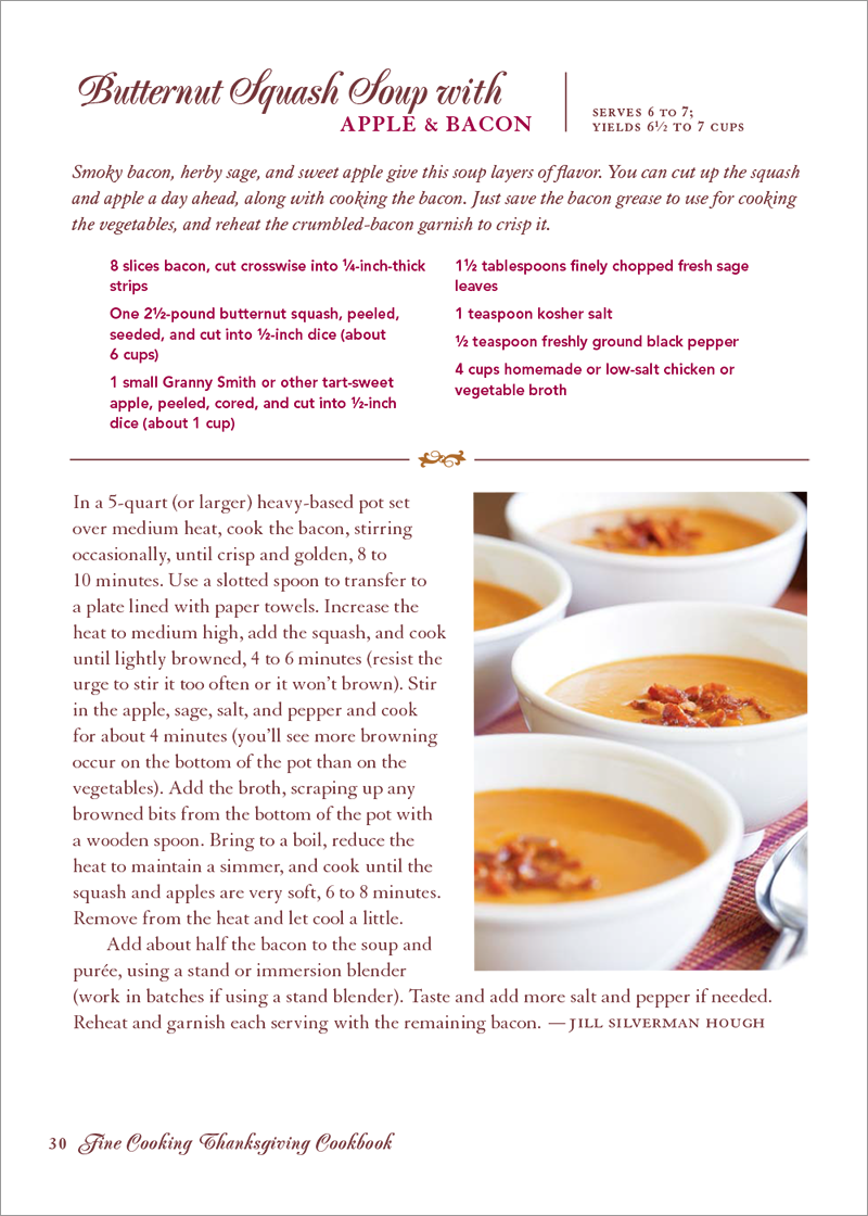 Thanksgiving cookbook page example
