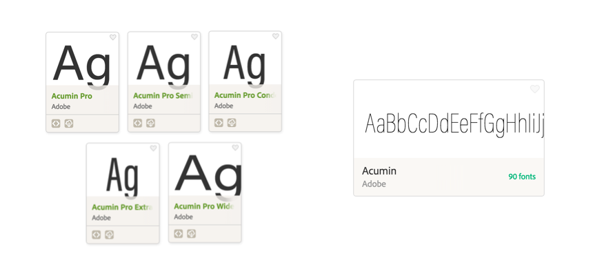 Font cards from Acumin superfamily