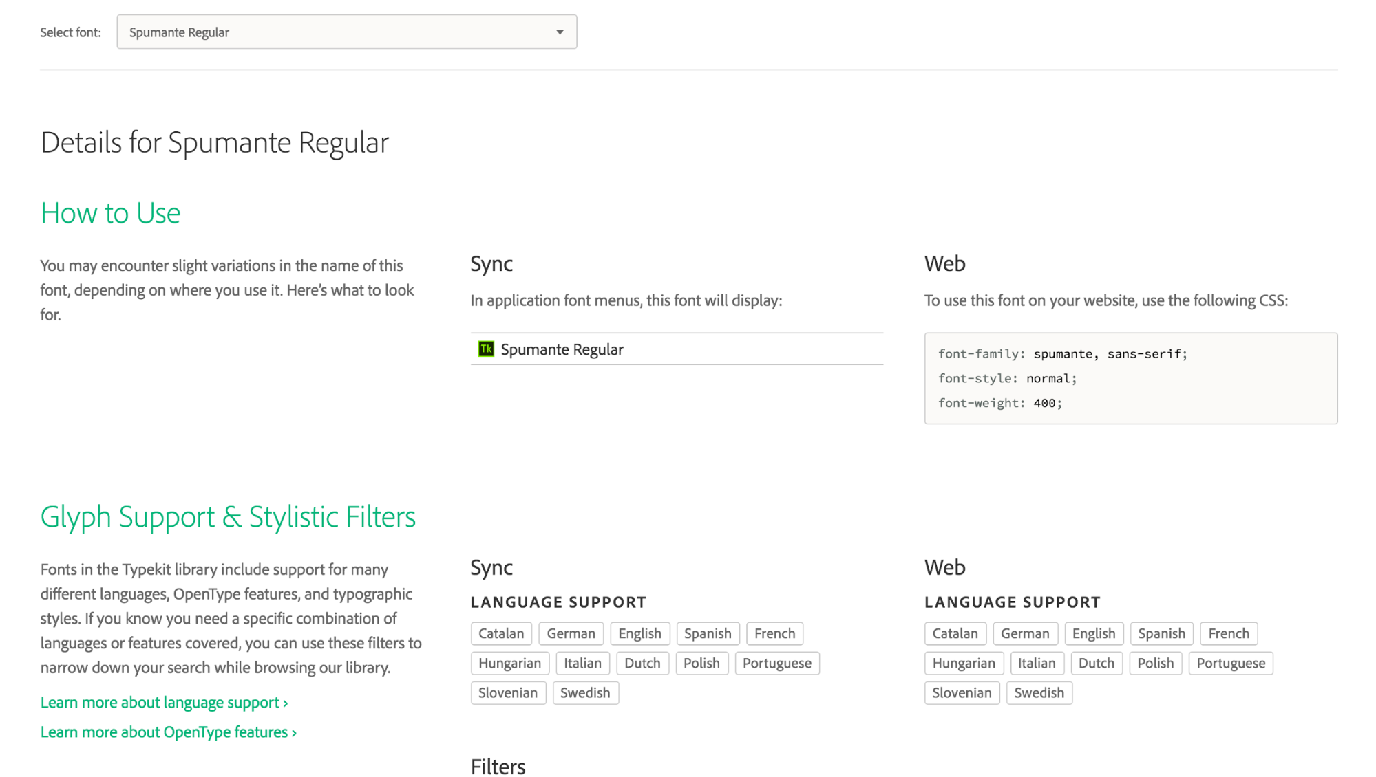 Screenshot of font details page