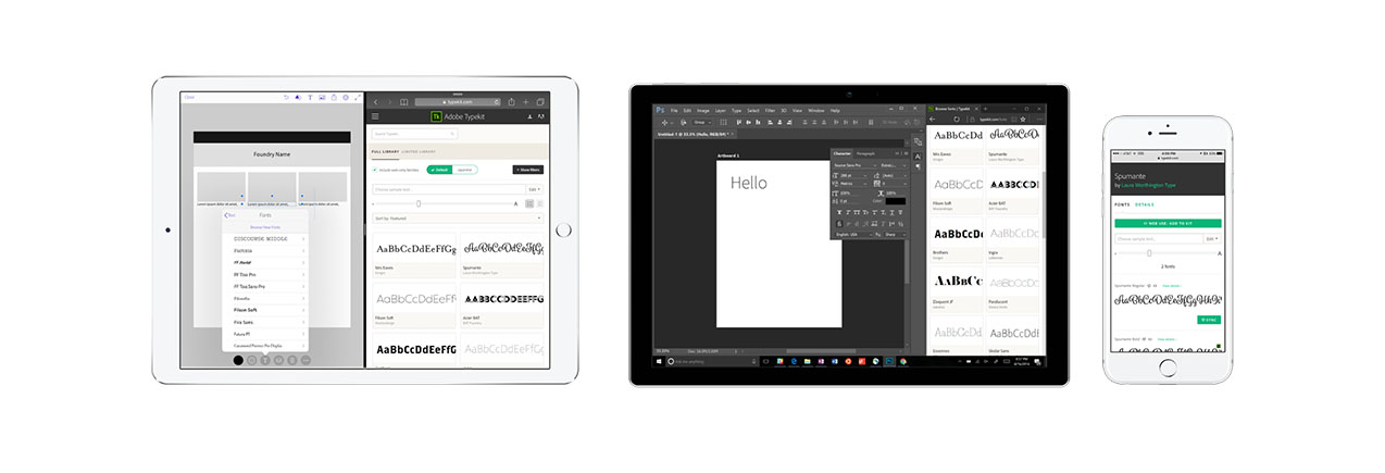 New Typekit browsing interface across multiple devices