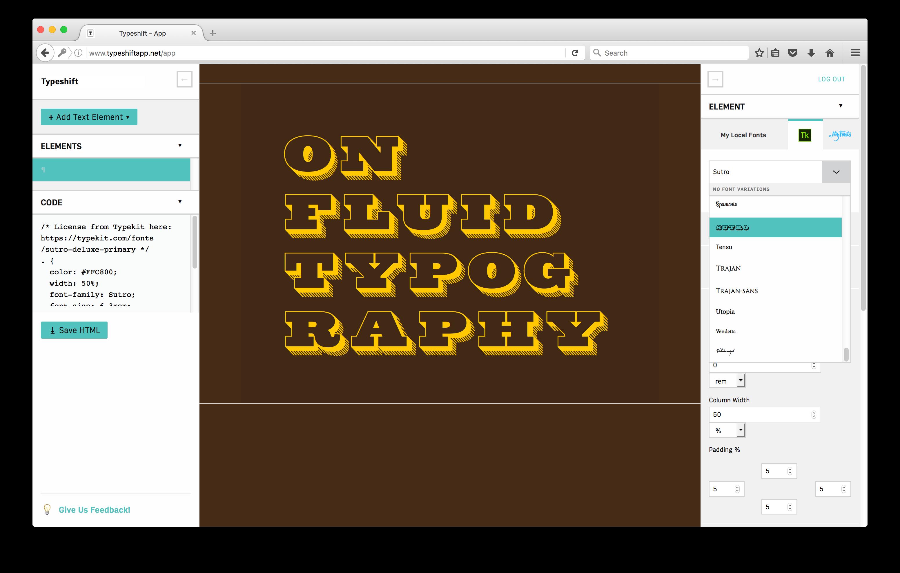 Typeshift with Typekit