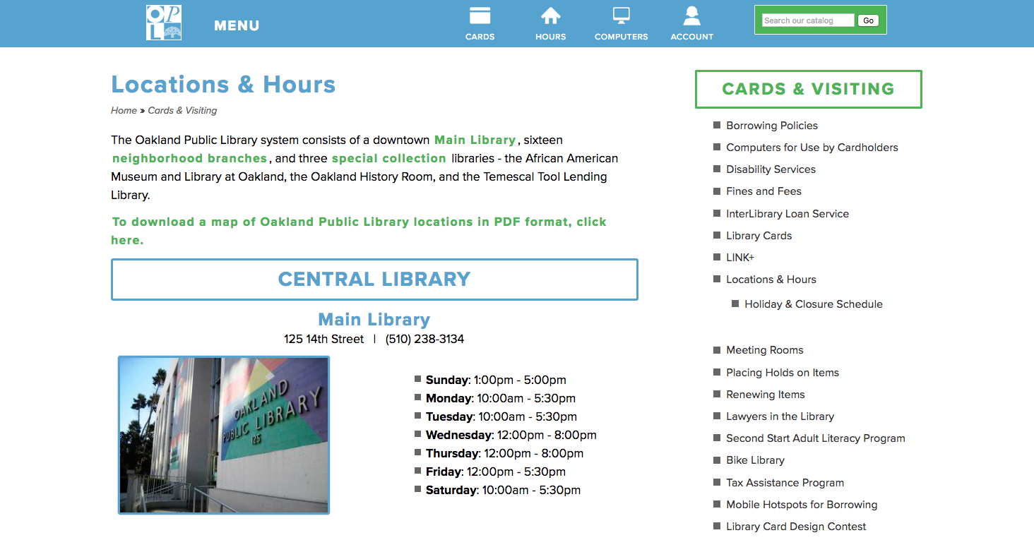 Oakland Public Library website page detail