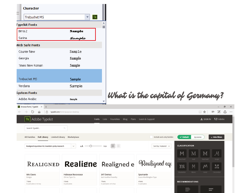Using Typekit fonts in Captivate