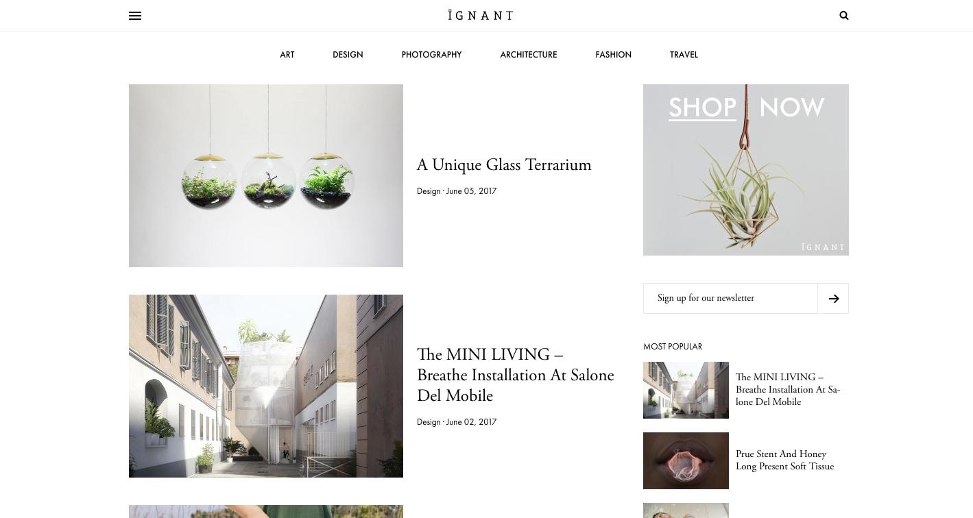 iGNANT homepage showing Adobe Garamond and Futura PT